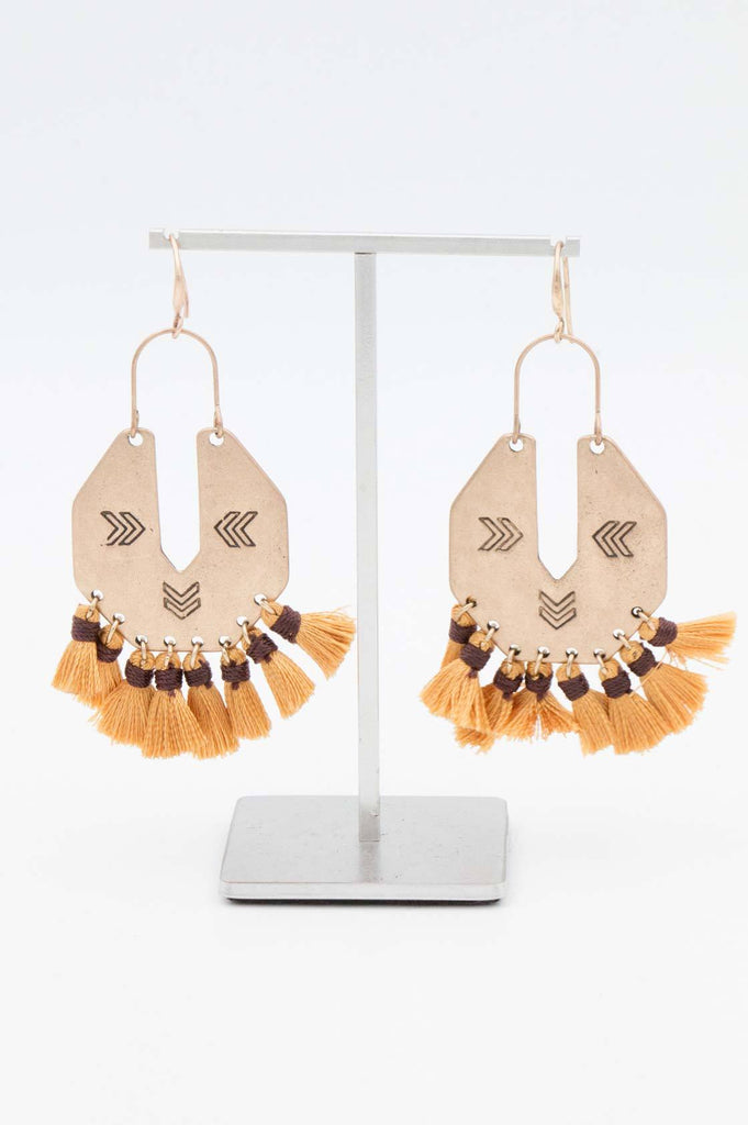 Gold and Brown Aztec Tassel Earrings - desray.co.za