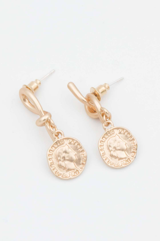 Gold Coin Knot Earrings - desray.co.za