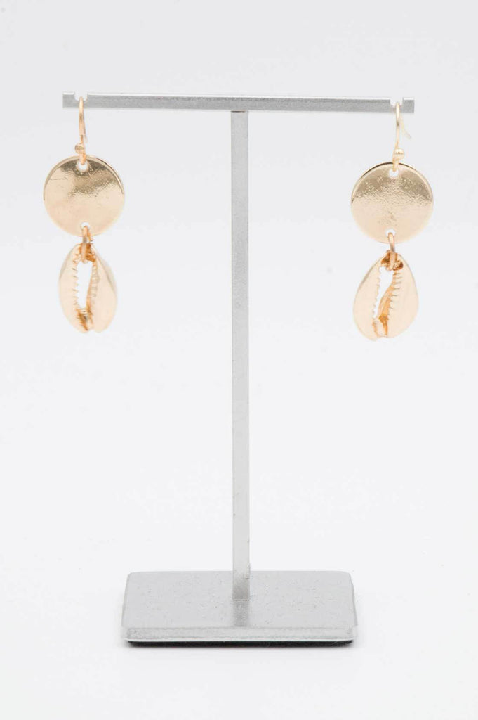 Gold Cowrie Disc Earrings - desray.co.za