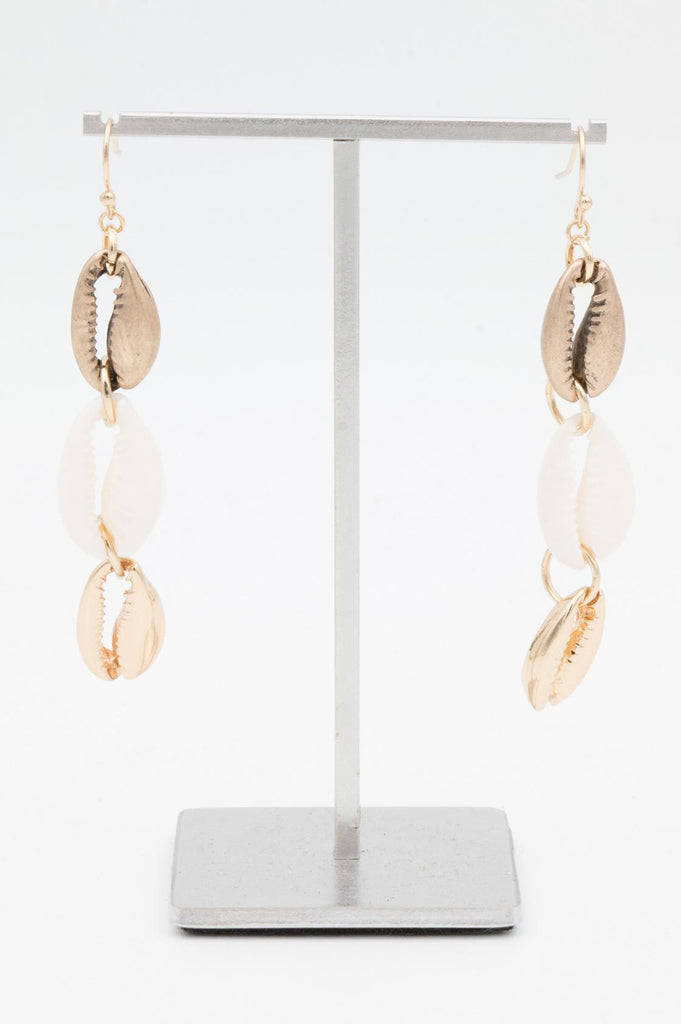 Cream and Gold Cowrie Earrings - desray.co.za