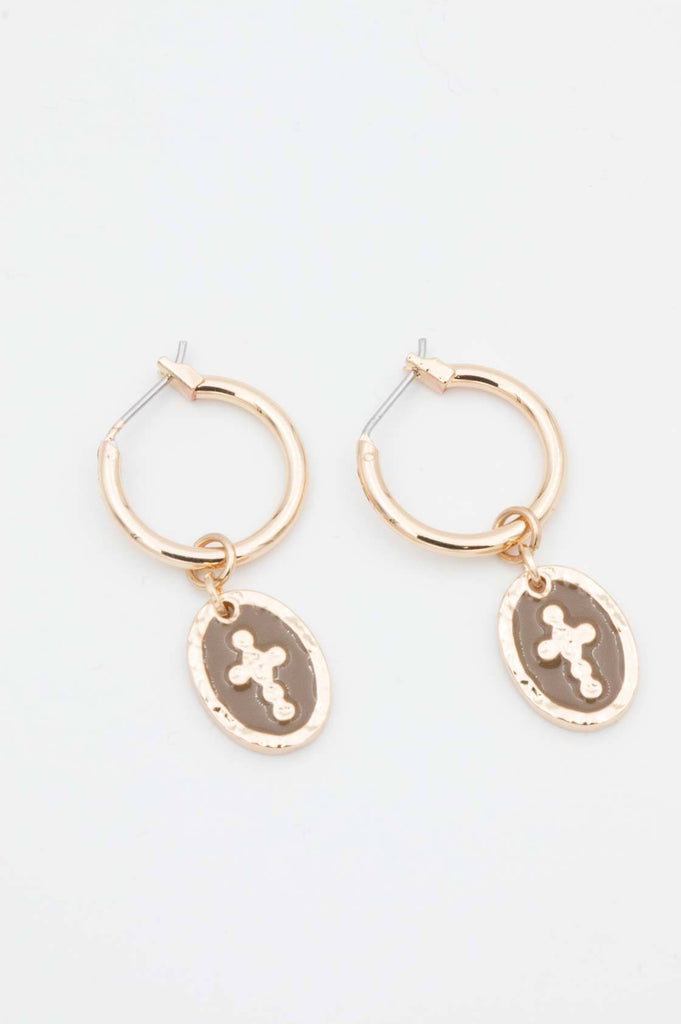 Gold Cross Sleeper Earrings - desray.co.za