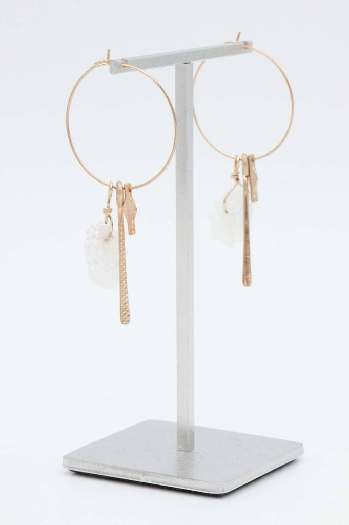 Gold Crystal Hoop Earrings - desray.co.za
