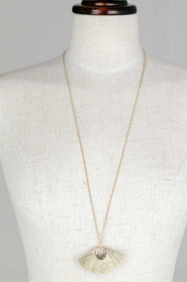 Gold Tassel Fan Necklace - desray.co.za