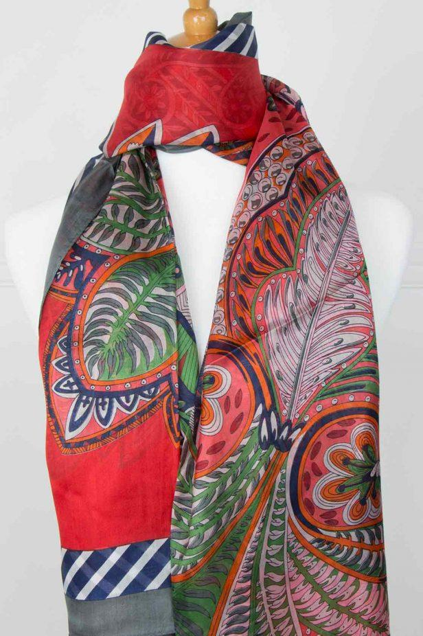 Green and Guava Pure Silk Scarf - desray.co.za
