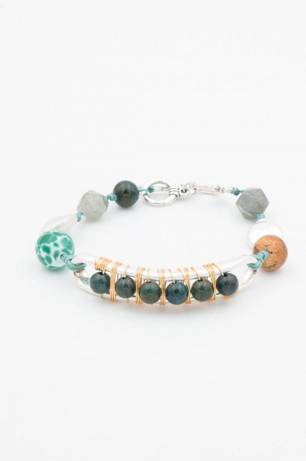 Green and Silver Beaded Bracelet - desray.co.za
