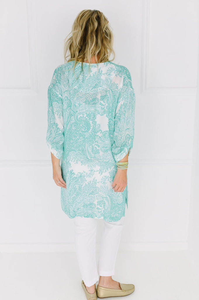 Green Print Long Top - desray.co.za