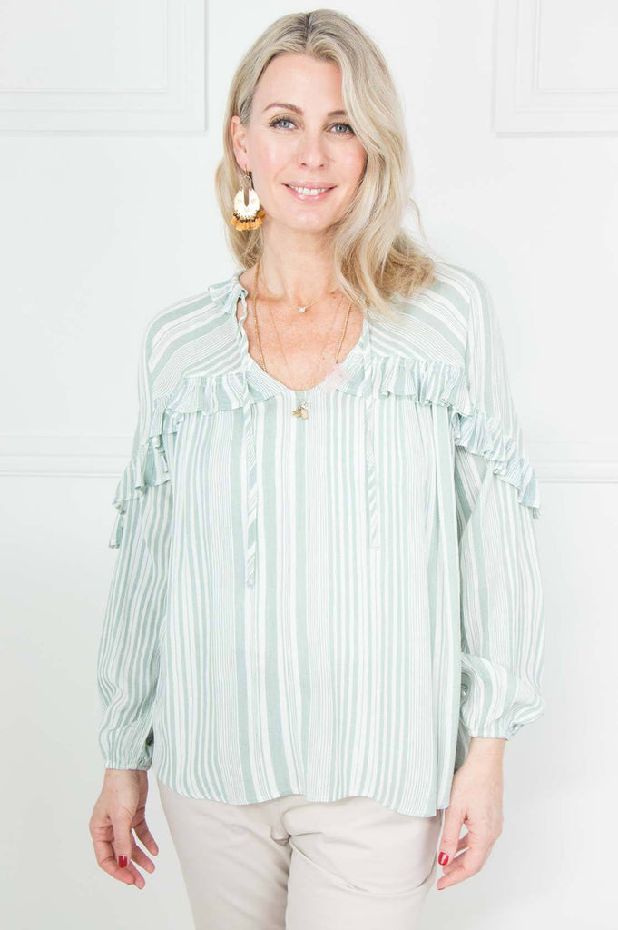 Green Stripe Frill Shirt - desray.co.za