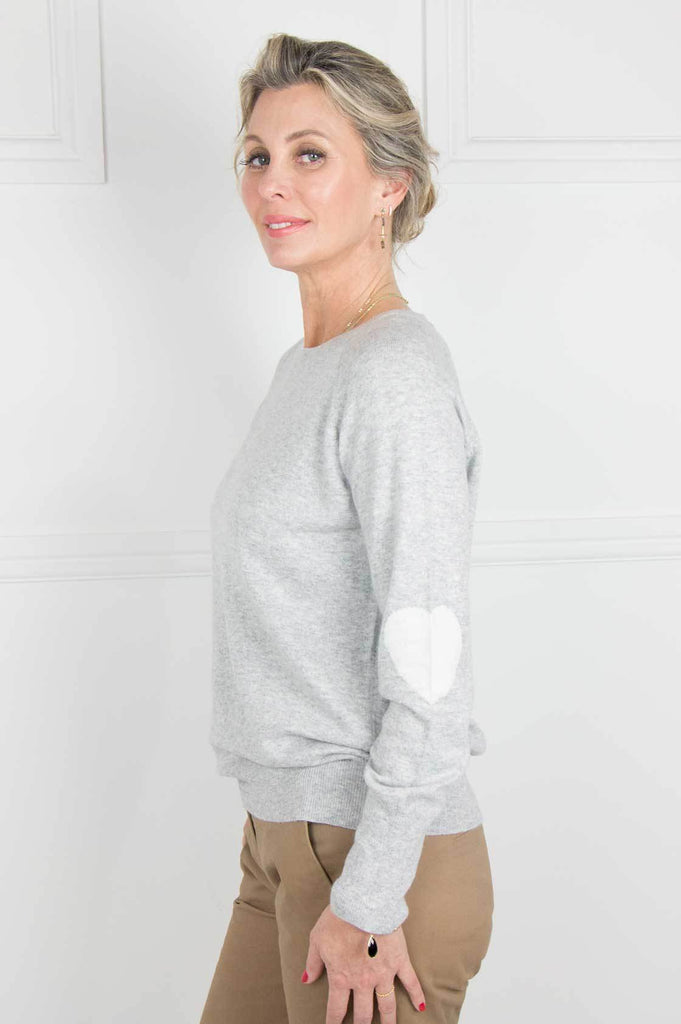 Grey and Ivory Heart on Sleeve Pullover - desray.co.za