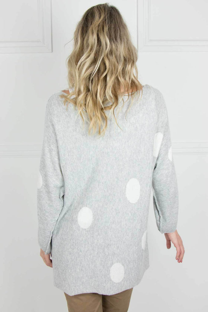 Grey and Ivory Polka Dot Raglan Pullover - desray.co.za