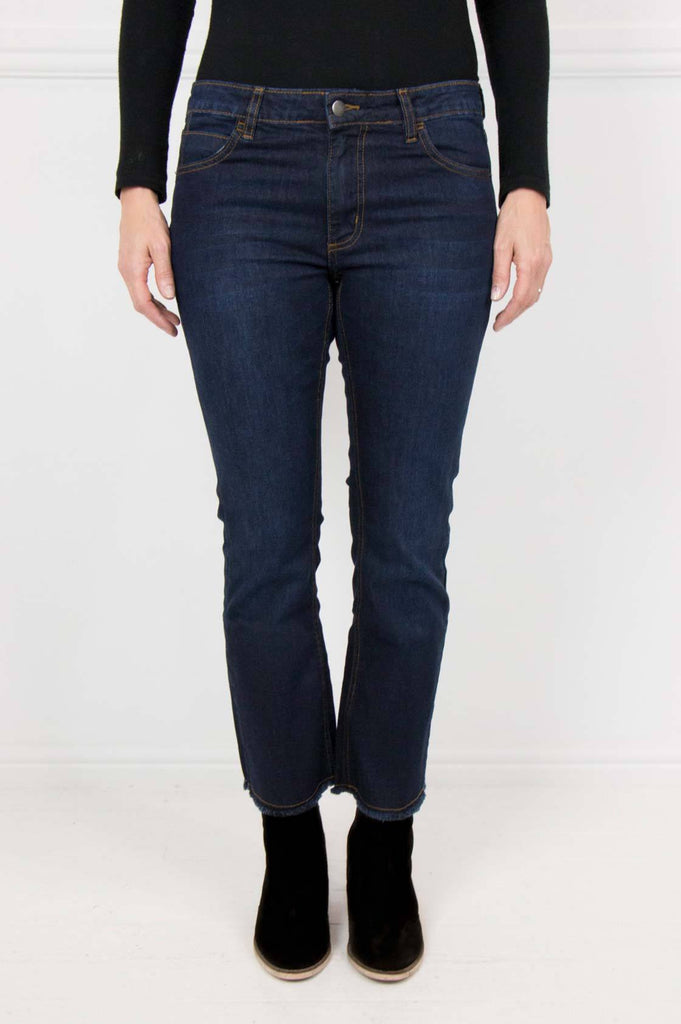 High Waisted Flare Frayed Jeans - desray.co.za