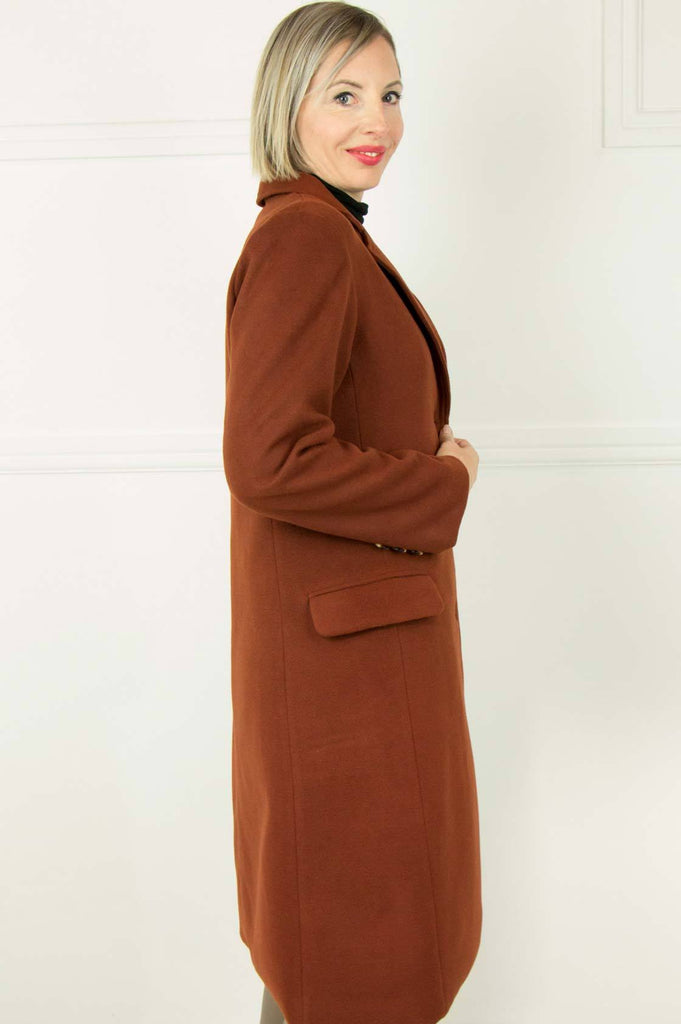Long Rust Winter Coat - desray.co.za