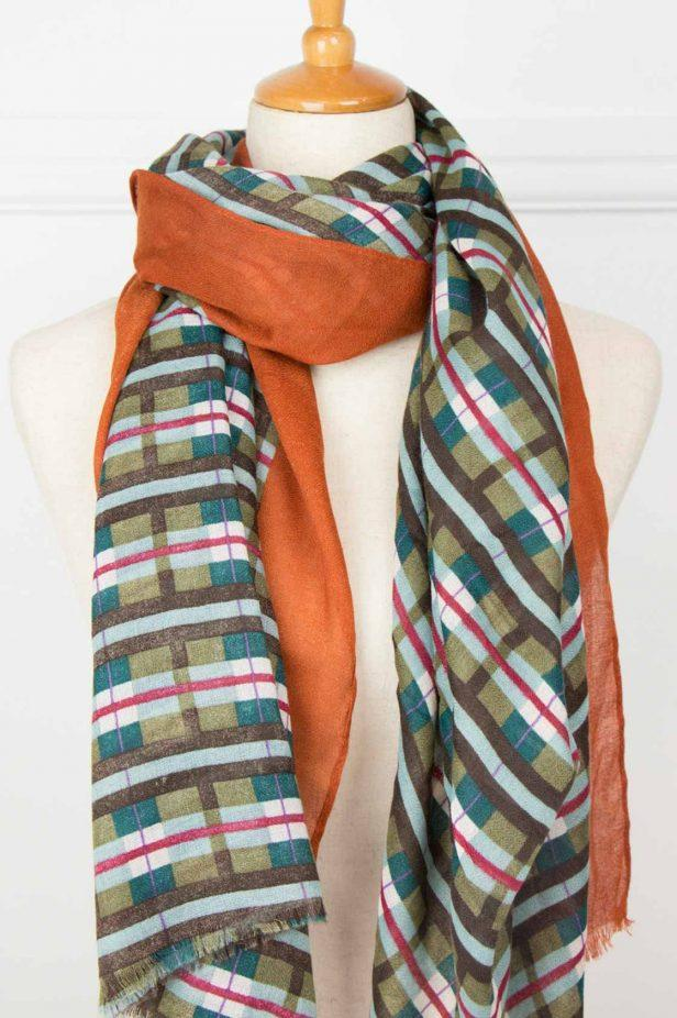 Multi Check Fringe Scarf - desray.co.za
