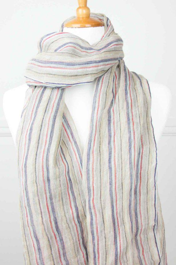 Multi Stripe Linen Scarf - desray.co.za