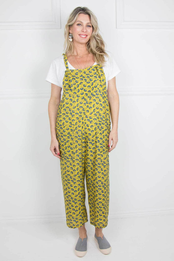 Mustard and Blue Langebaan Dungarees - desray.co.za