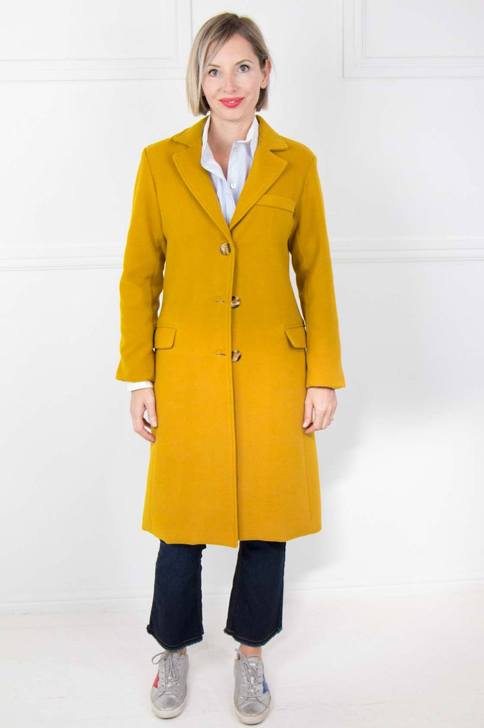 Mustard Long Winter Coat - desray.co.za