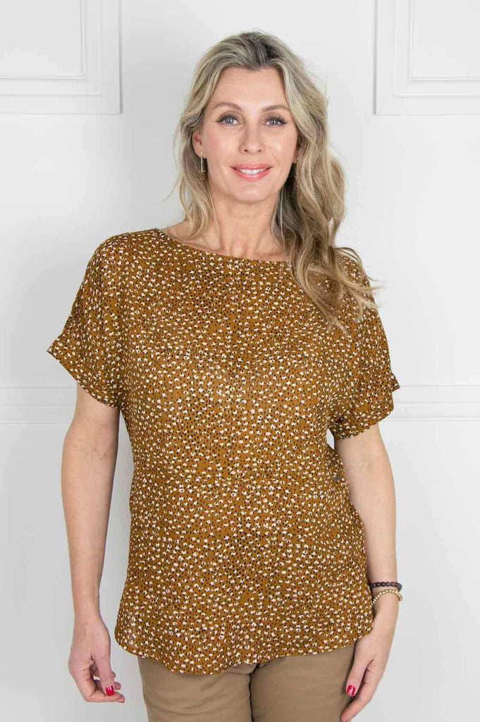Mustard Tulbagh Button Back Top - desray.co.za