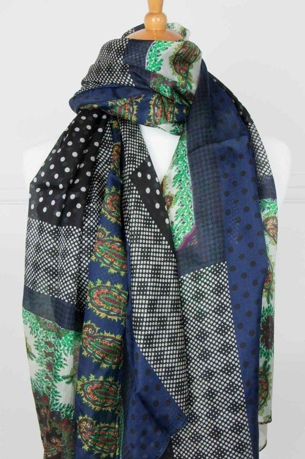 Navy and Emerald Pure Silk Scarf - desray.co.za