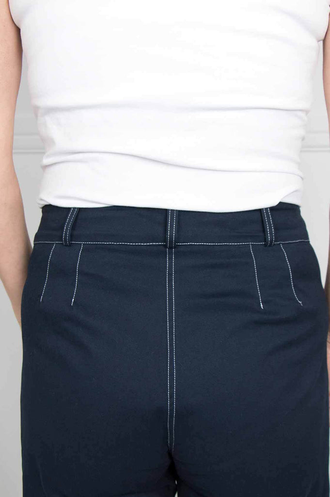 Navy Flared Cropped Pants - desray.co.za