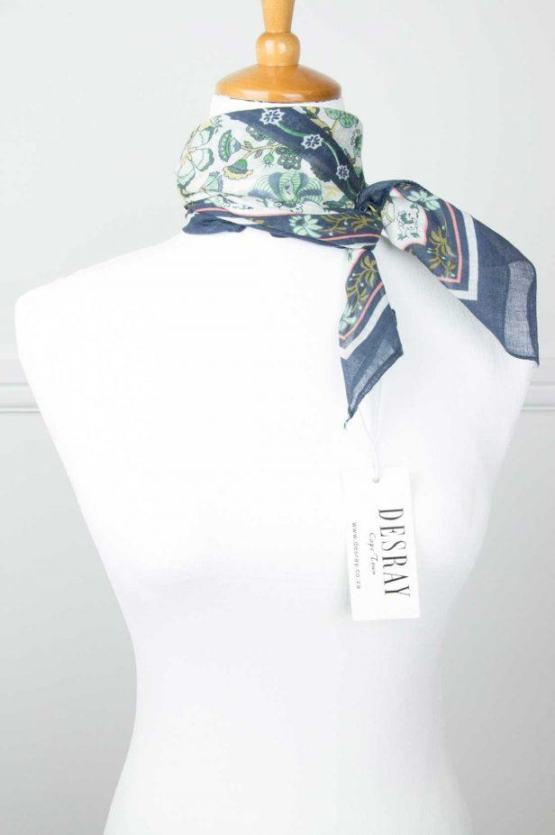 Navy Floral Neck Scarf - desray.co.za