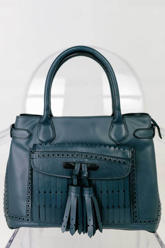 Navy Leather Handbag - desray.co.za