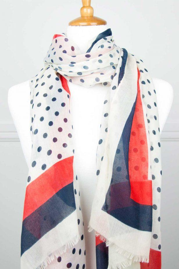 Navy Polka Dot Scarf - desray.co.za