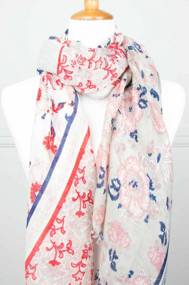 Navy/Red Floral Stripe Scarf - desray.co.za