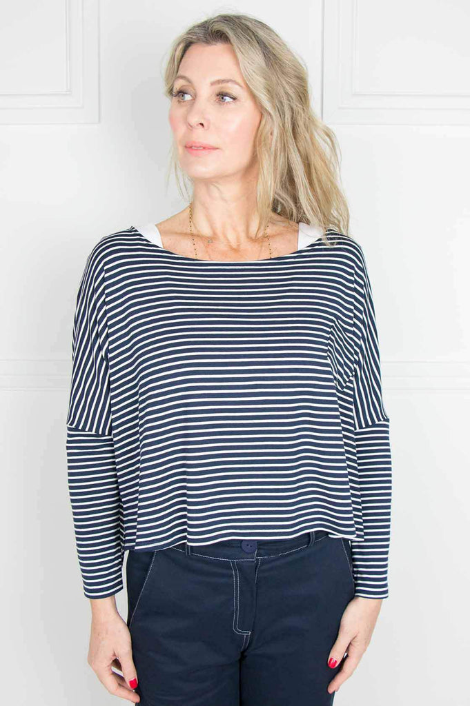 Navy Stripe Cropped Box Top - desray.co.za