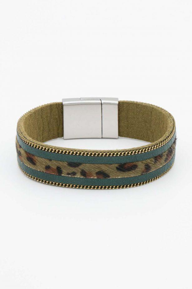 Olive Animal Print Strap Bangle - desray.co.za