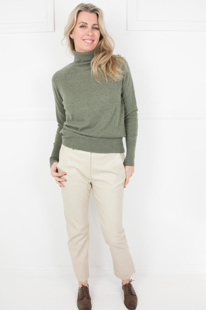 Olive Cashmere/Cotton Poloneck - desray.co.za