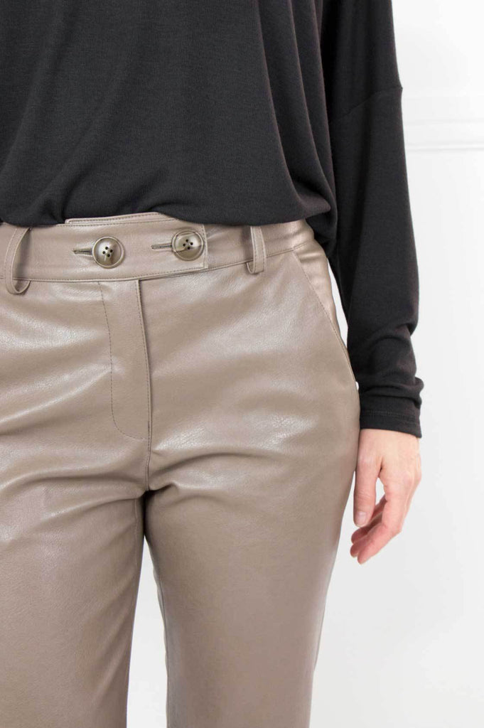 Olive High Waisted Leatherette Pants - desray.co.za