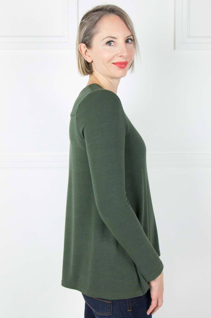 Olive Long Sleeve Swing Top - desray.co.za