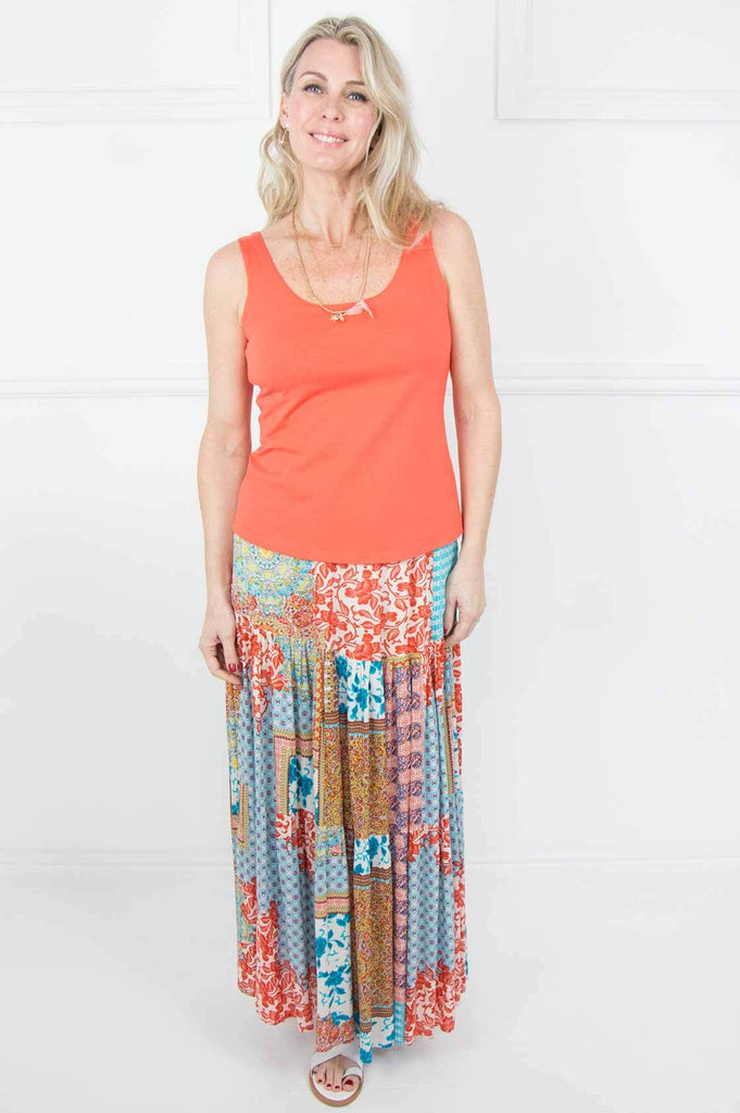 Orange and Blue 2 Tier Skirt - desray.co.za
