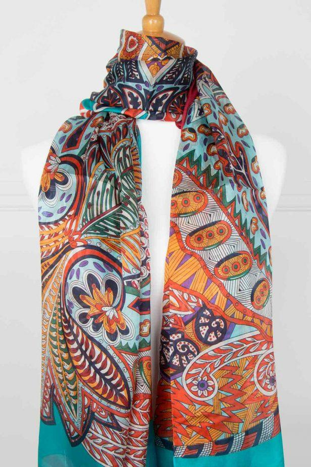 Orange and Turquoise Pure Silk Scarf - desray.co.za