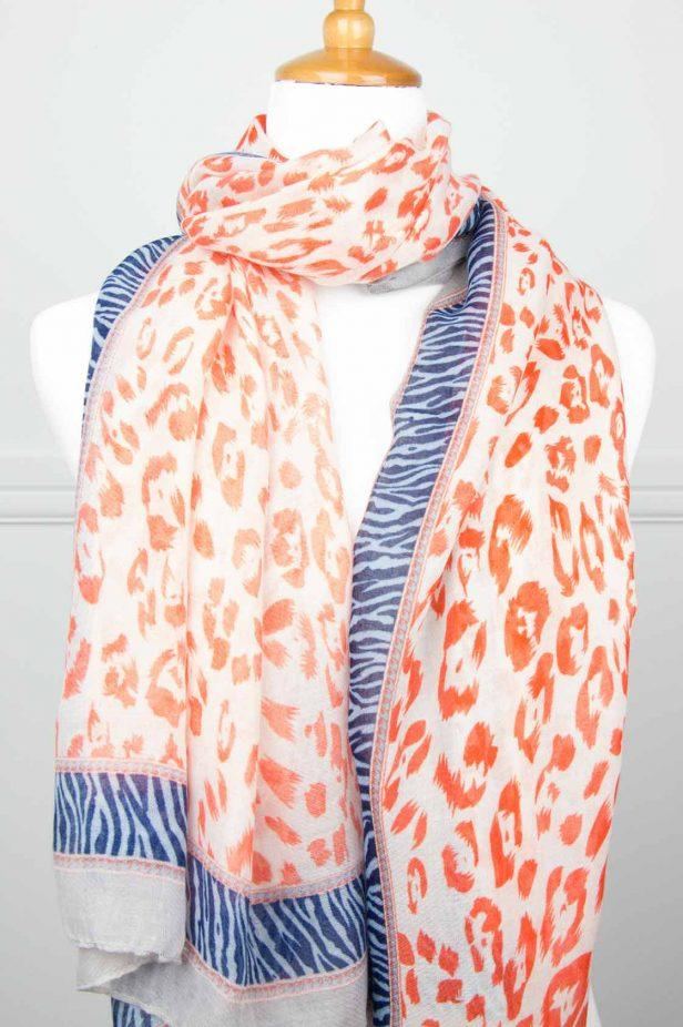 Orange/Blue Animal Print Scarf - desray.co.za