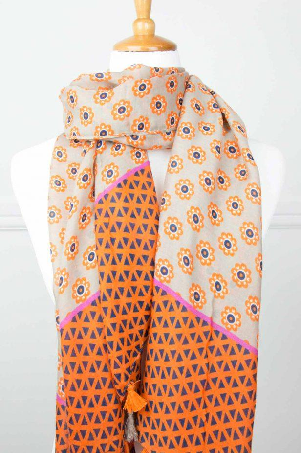 Orange/Navy Floral Tassel Scarf - desray.co.za