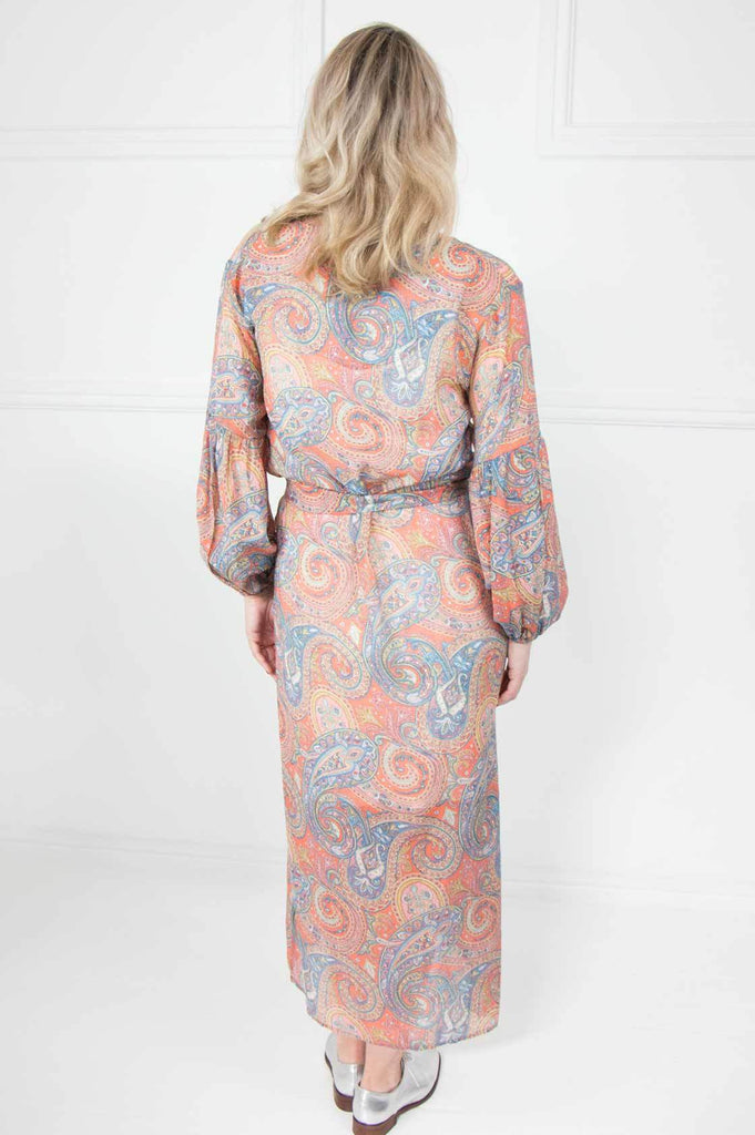 Orange Paisley Bell Sleeve Dress - desray.co.za