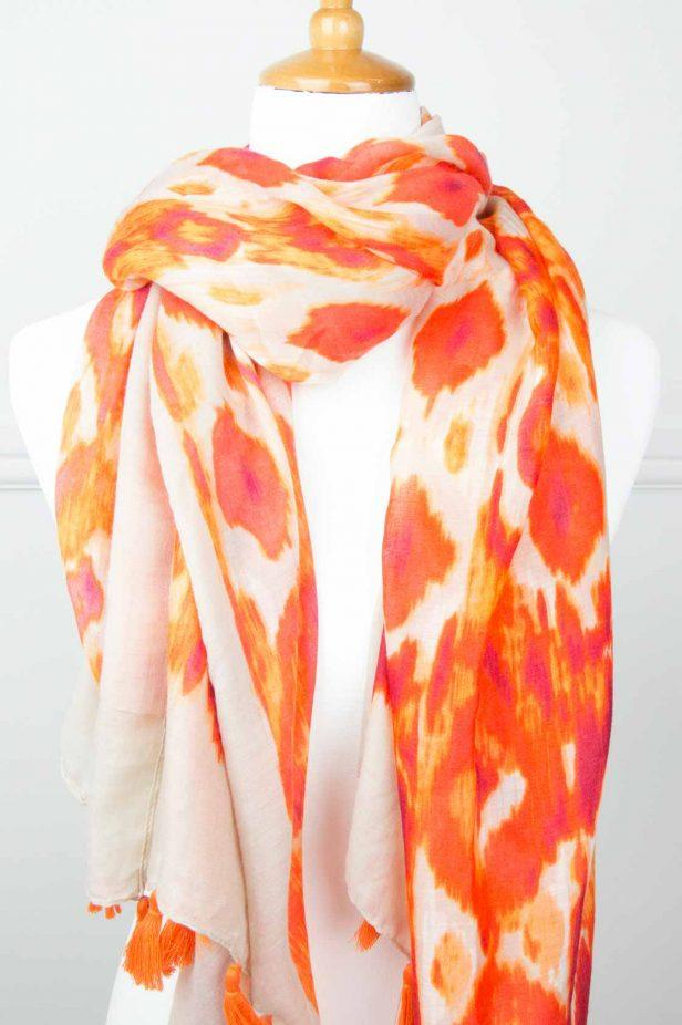 Orange Print Tassel Scarf - desray.co.za