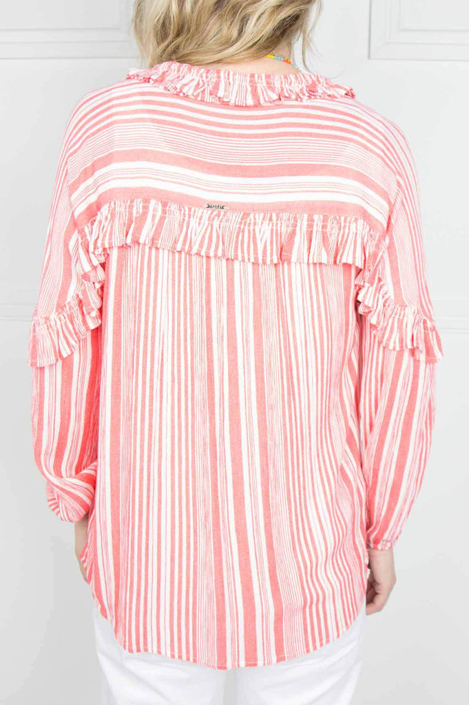 Orange Stripe Frill Shirt - desray.co.za