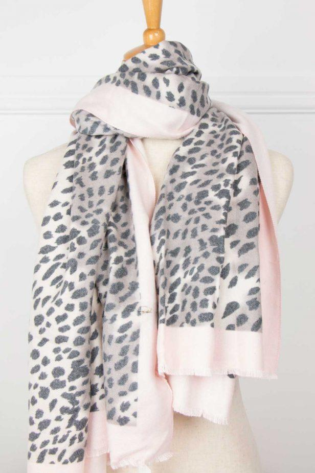 Pale Pink Animal Print Scarf - desray.co.za