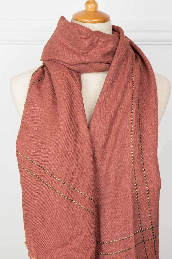 Rust Studded Scarf - desray.co.za