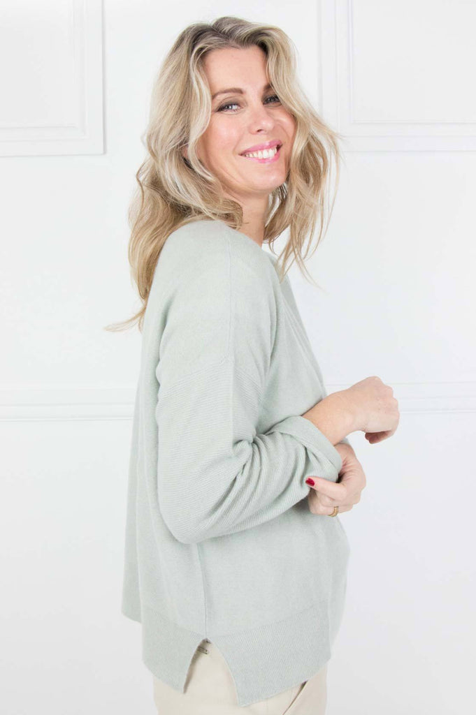 Sage Cashmere/Cotton Slouchy Pullover - desray.co.za