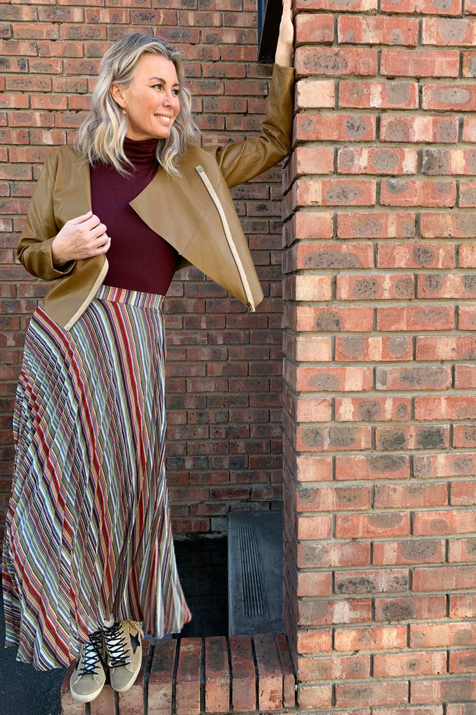 Stripe Sunray Pleated Skirt - desray.co.za
