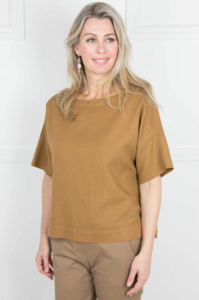 Tan Boxy Linen Top - desray.co.za