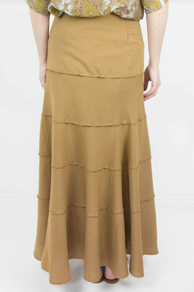 Tan Linen Tiered Skirt - desray.co.za