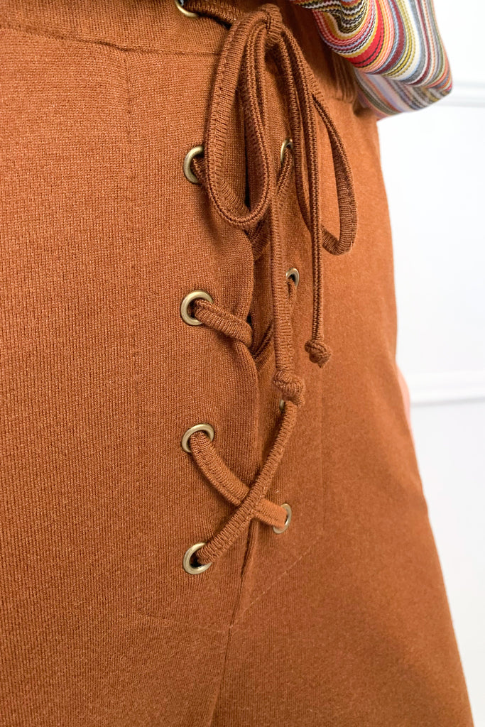 Rust Knit Eyelet Track Pants - desray.co.za