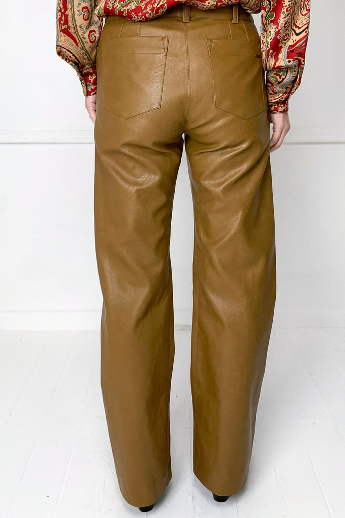 Tan Leatherette Washington Pants - desray.co.za