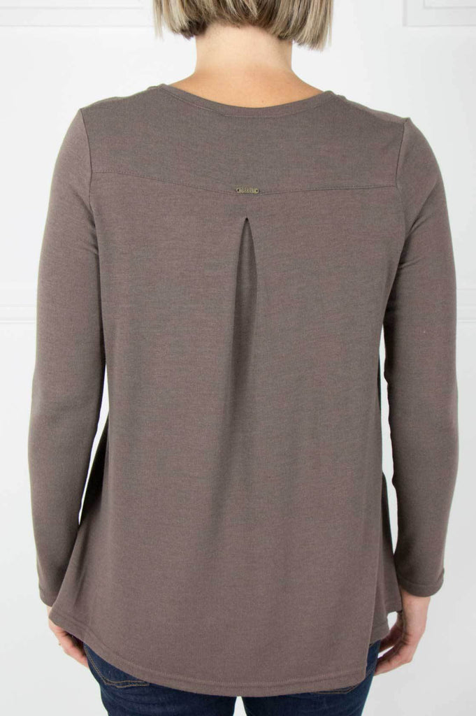 Taupe Long Sleeve Swing Top - desray.co.za