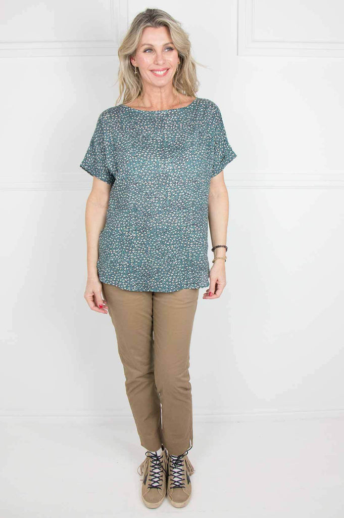 Teal Tulbagh Button Back Top - desray.co.za