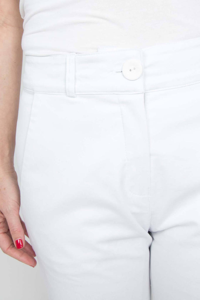 White Flared Cropped Pants - desray.co.za