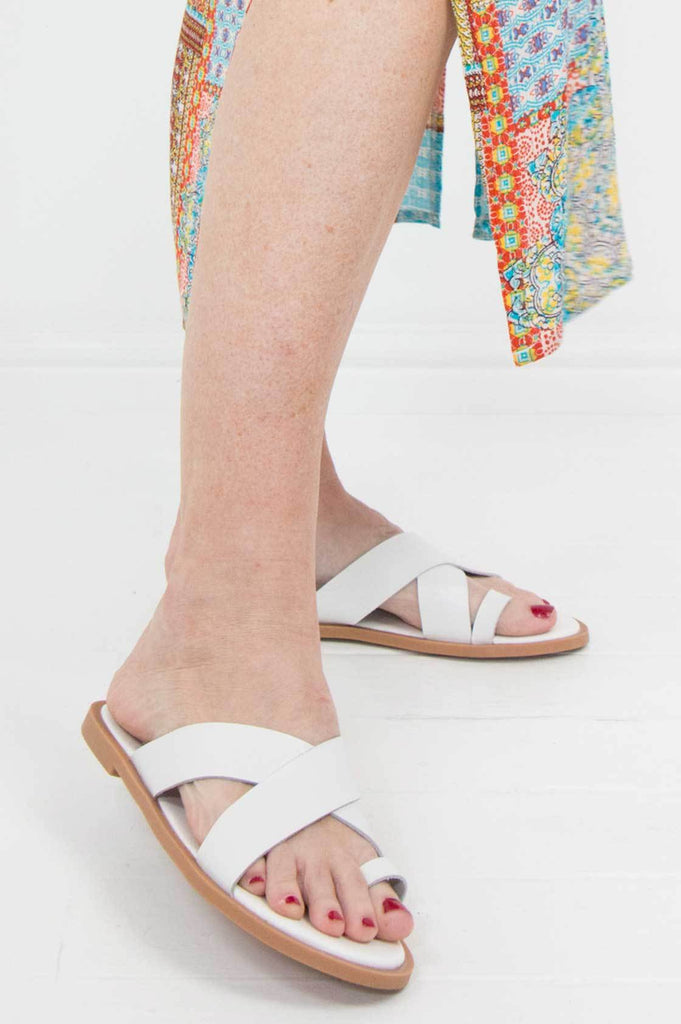 White Leather Sandals - desray.co.za